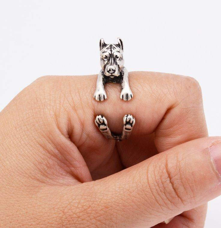 Drop Shipping Fashion Pit Bull Puppy Ring Anel Hippie Vintage 3D Pitbull Dog Ring Aneis Boho Chic Rings For Women Men Jewelry
