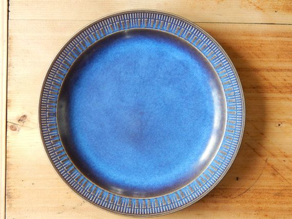 Scandinavian Vintage Blue Brown Ceramic Dinner Plate