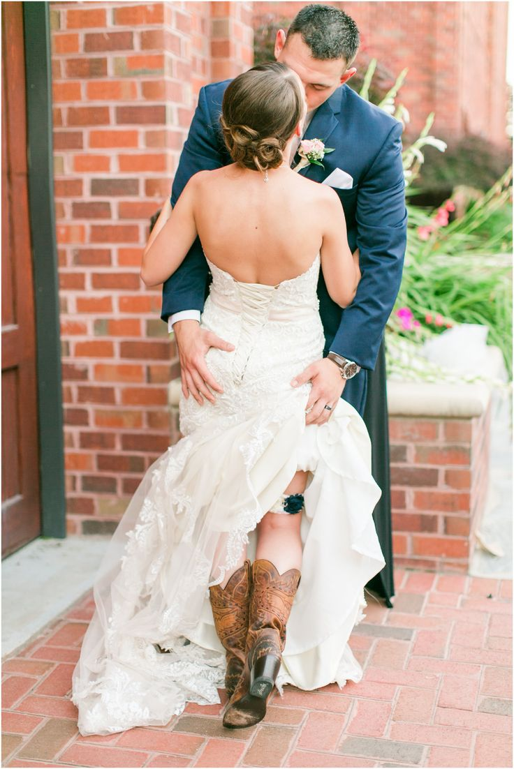 Garter Shot Bride & Groom Cowboy Boots Harbour View Wedding Navy & Blush Wedding in Occoquan, Virginia