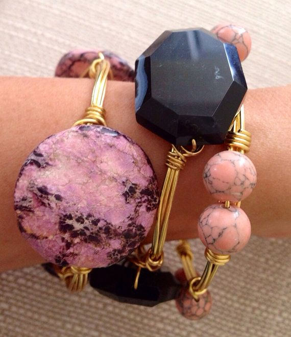 Set of 3 bangles! This Bubble Gum Bourbon set of Stone Wire Wrapped Bangle Bracelets is Ready to Ship! on Etsy, $39.00