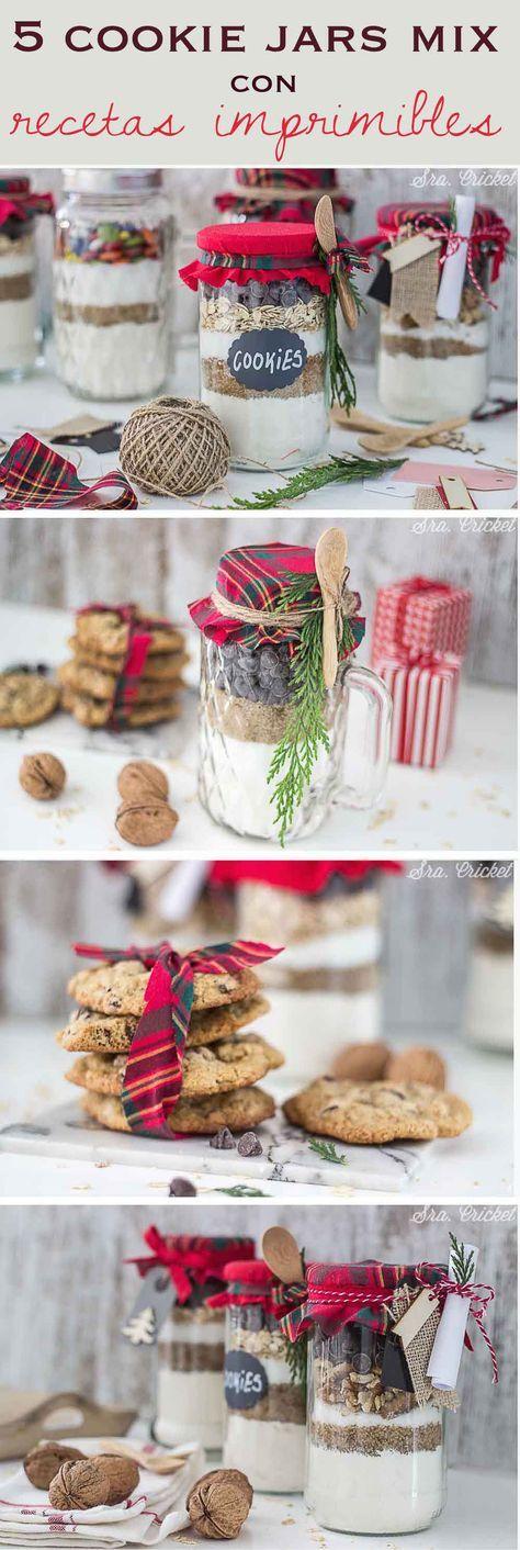 cookie jars mix Tarros de cristal con mezcla para galletas, receta galletas, recetas imprimibles, botes de galletas, tarros de galletas, ingredientes para galletas