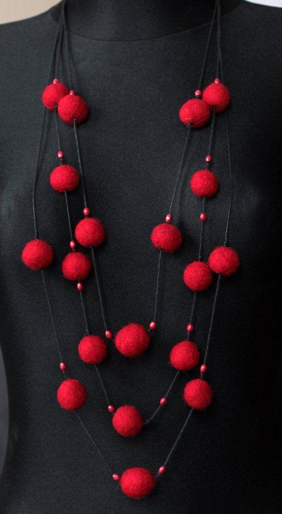 Long felt necklace, felt jewellery, red