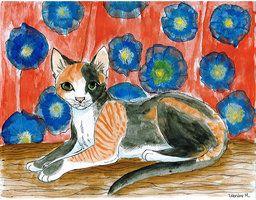 este dibujo llamado michu fue mi primer dibujo que salio en populares en devian