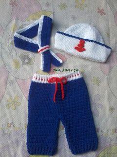 Néia, artes e cia: Kits Chiquinha, Chapolin, Marinheiro e touca Cupcake - Crochê Newborn