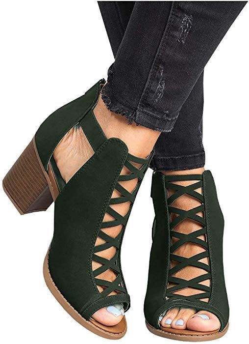 8b17a9fc618ec Amazon.com: Liyuandian Womens Platform Open Toe Ankle Strap Zipper ...