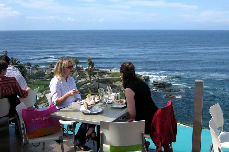 Eating on the terrace at Georges in La Jolla - San Diego, CA