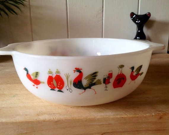JAJ Pyrex Fowl Play dishes, in very good condition. Design circa 1965. Dishes would have been part of a salad or fruit set with four small bowls This is the 3 pint casserole sold originally without lid. Dimensions - 8 X 3 inches Happy to post worldwide but please contact me for a quote as price listed is best guess only.  Thank you for looking