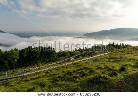 Early morning in foggy Polish Beskid