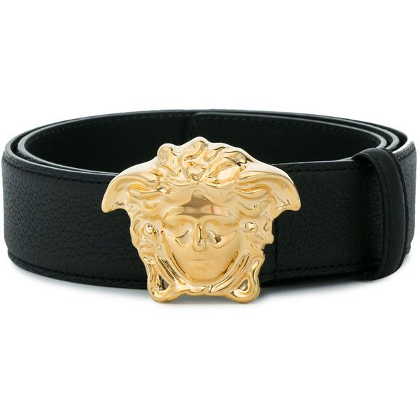 Versace Belt With Logo Buckle ($415) ❤ liked on Polyvore featuring men's fashion, men's accessories, men's belts, black and versace mens belt