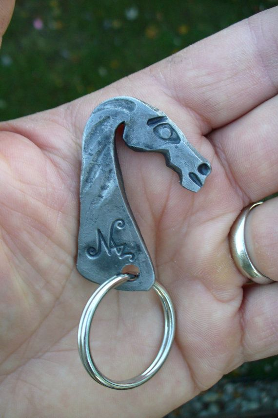 HORSE HEAD KEYRING  Hand Forged by Blacksmith  by NazForge on Etsy, $25.00