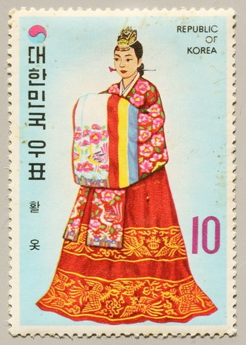These were done as part of a tourism series it looks like. Hwal Ot means something along the lines of traditional Korean clothing. This is a woman in a wedding hanbok. #KoreanDesign #KoreanTextiles