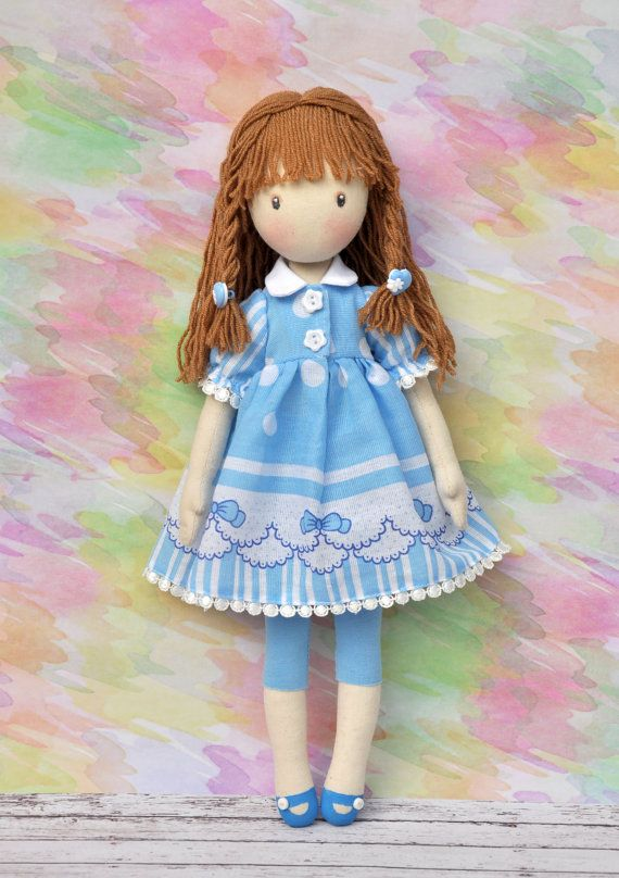 Textile dollAnna Doll decorative doll collector dolls by NilaDolss