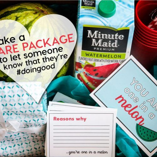 """Make a """"Reverse"""" Care Package with the help of Minute Maid.  Let someone know that they are one in a """"melon!"""" Cute printables included.  #sp"""