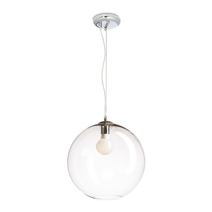 BISOU | rendl light studio | Suspended light with a shade of clear glass. The ceiling cap and other details are chrome-colored. The light is fitted for a E27 low-energy bulb. Pendant with a shade of hand-blown glass. #lamp #pendant #design #chandelier