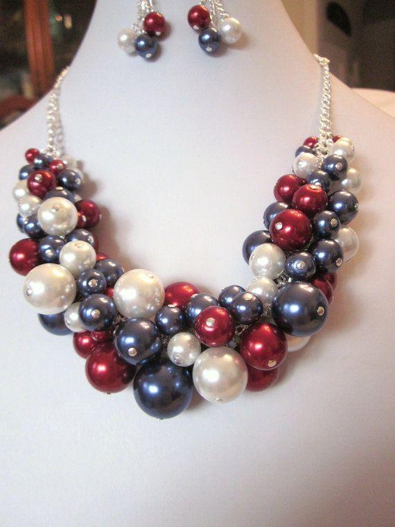 Racimo perlas collar conjunto en azul por CreationsbyCynthia1