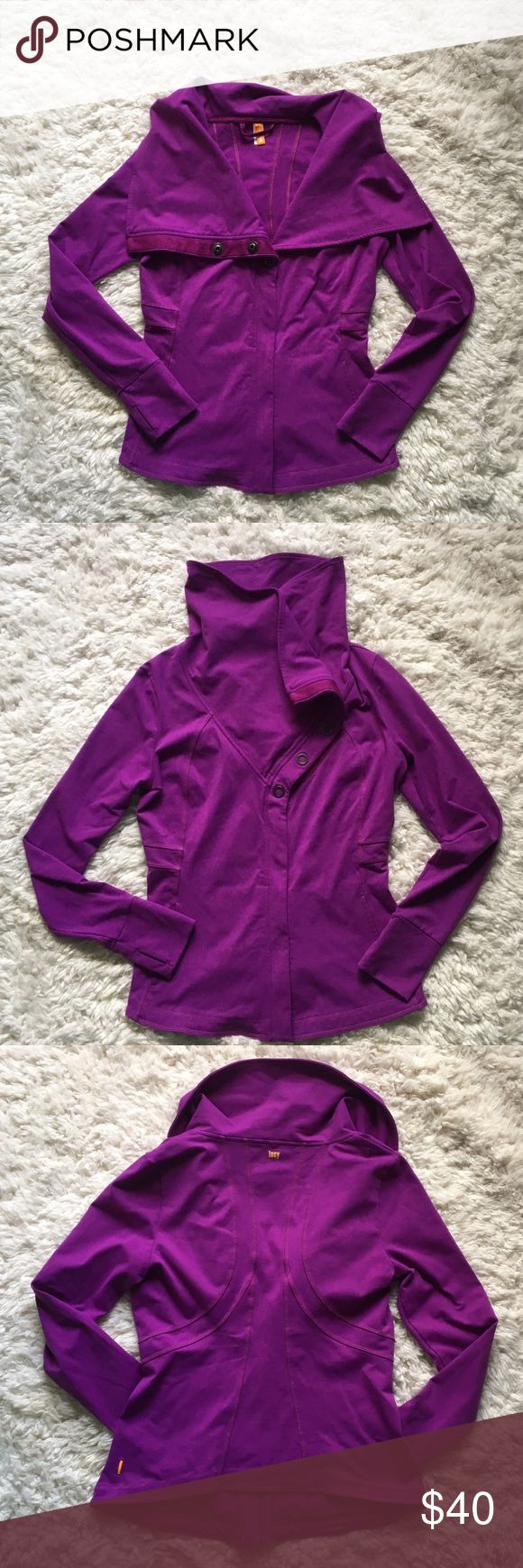 Lucy jacket Lucy athletic wear jacket. Size M. Color is bright purple. Slight pilling under arms as shown. Thumb holes. Neckline can be fold down or snapped up. Hardly worn. Lucy Jackets & Coats
