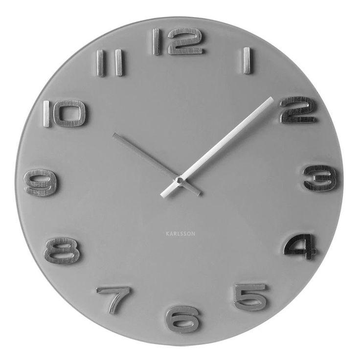 Karlsson Wall Clock Vintage Round - Grey Glass