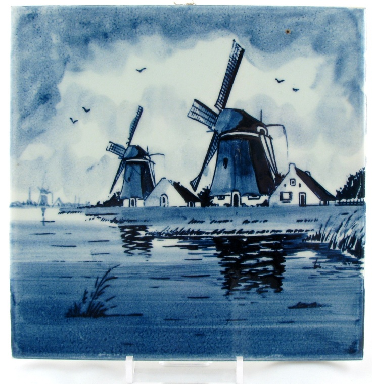 DELFT Hand Painted TILE vintage Holland Windmill Canal Cottages Dutch