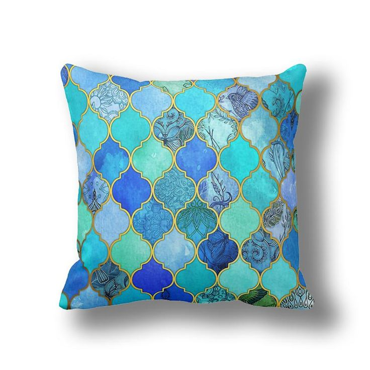 IKathoME Royal Blue/Turquoise Green/Mint Morocco Pillow Covers,Tribal Throw Pillow Case,Linen Geometric Cushion Covers Sofa D528