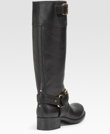 best women's motorcycle boots   Prada Lugsole Motorcycle Boots in Black - Lyst