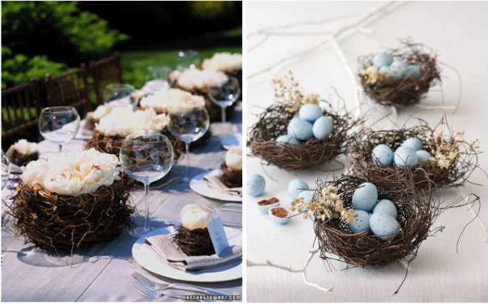 Love Bird Wedding theme, DIY Ideas, DIY Love Bird sign, Wedding Trends 2013, bird nest centerpieces, bird nest place settings ,paper bird garland, birdcage card holder, birdhouse favors, bird theme for weddings, Art Deco Gal