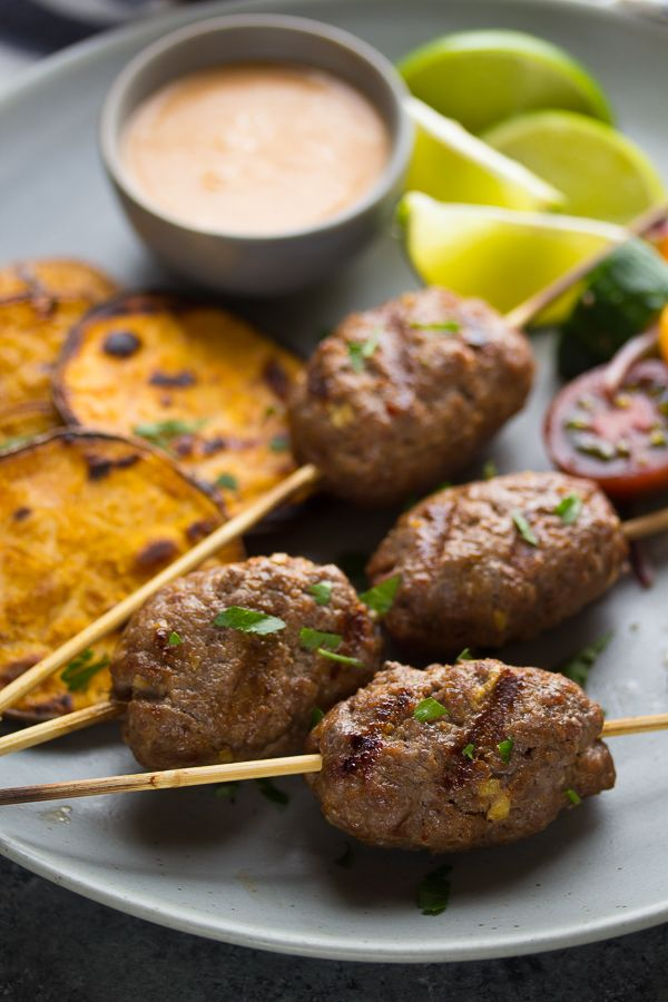 Thai Curry Beef Koftas with Coconut Sauce | @sweetpeasaffron