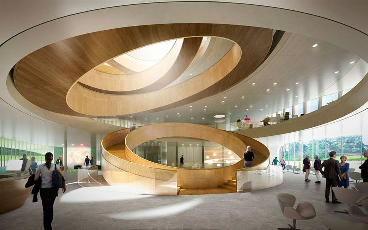 Imbibing the Olympic concept of unity, the new headquarters will include a central staircase designed after the Olympic rings. Image courtesy of International Olympic Committee, ©3XN. - Image - Design Build Network