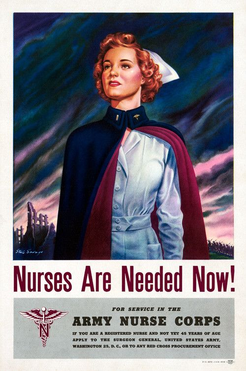 Nurses are needed now! For service in the Army Nurse Corps. Nursing recruitment poster from the Recruiting Publicity Bureau of the U.S. Army, 1944. Vintage WWII poster. Prints from $15.