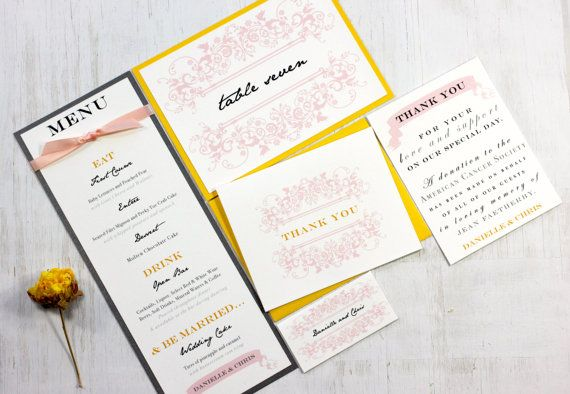 French Countryside  Wedding Menu Cards Pink Peach by BeaconLane, $100.00