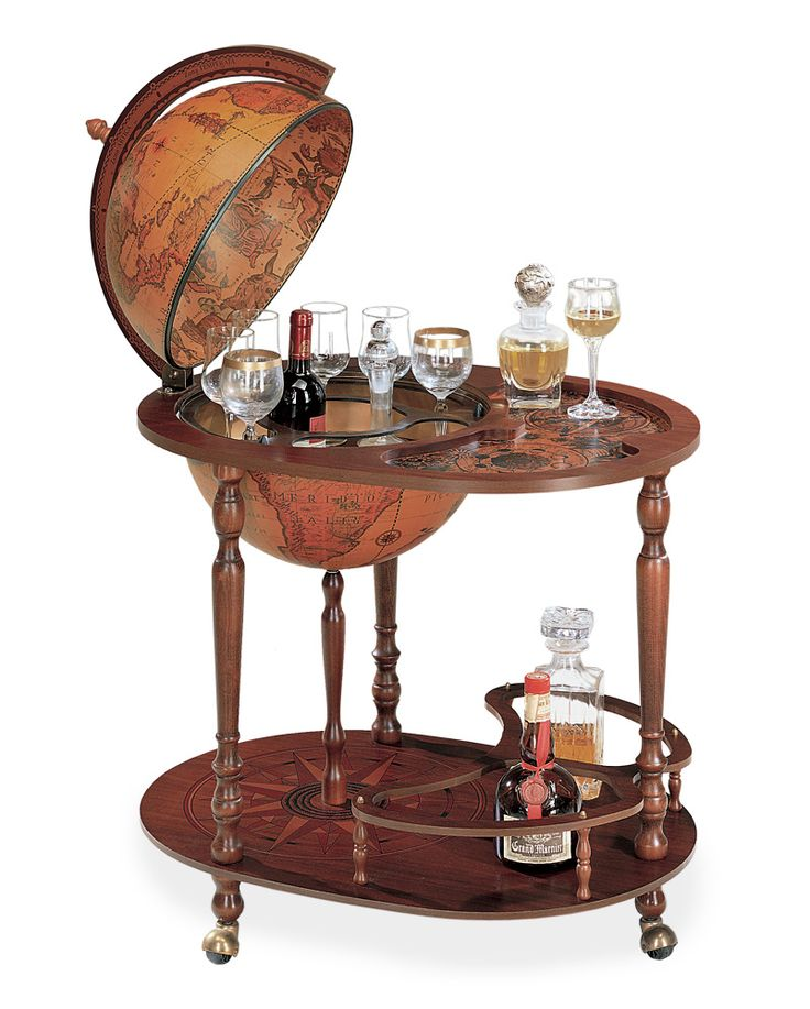 """Royal Queen Serving Cart Bar Globe with 16"""" Classic Globe"""