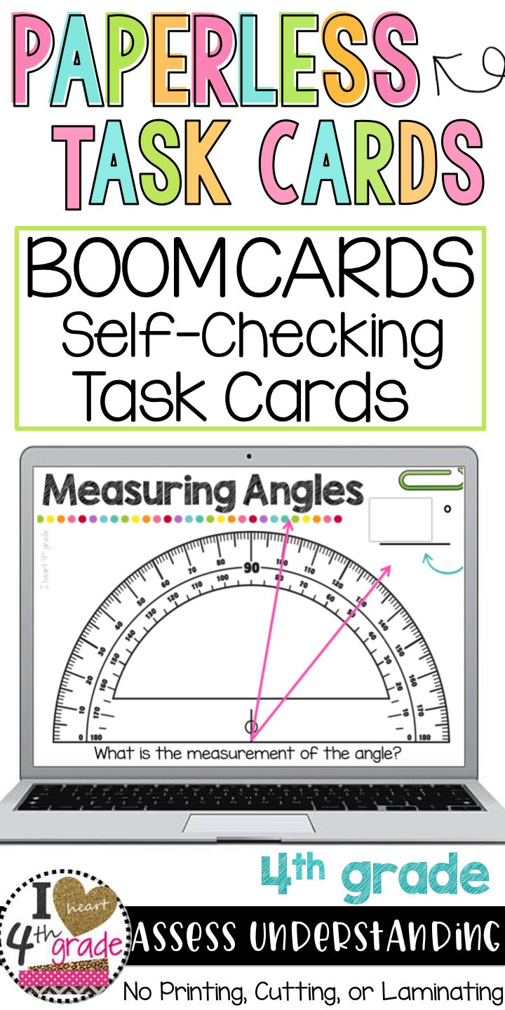 Measuring Angles | 4th grade geometry | geometry math centers | 4th grade math | angles math centers | angles on a protractor | Teaching angles?  This set of digital self checking task cards is a great way to easily practice this skill with 4th grade students. #measuringangles ($)