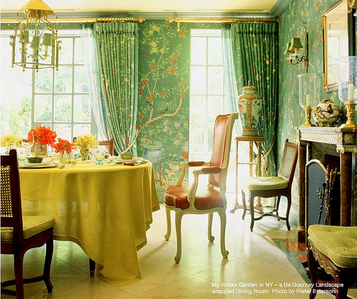 Colorful Rooms Moss: Panels And Sheers Complete The Wall-to-wall De Gournay In