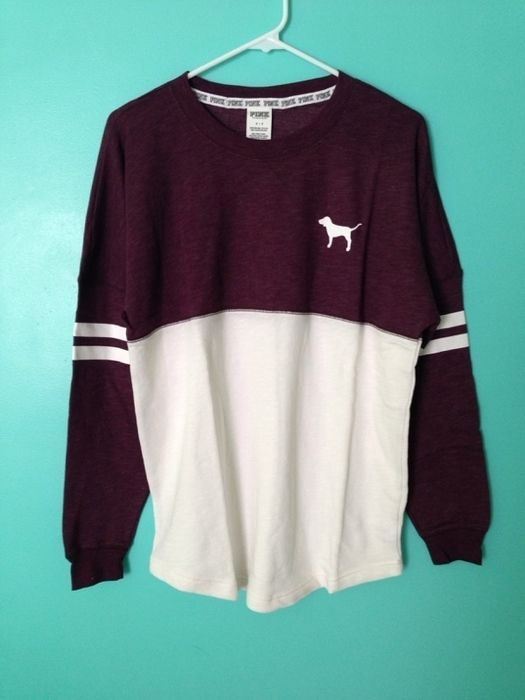 I want this so bad, or maybe just a varsity sweater, or just something from PINK ~ Anne Marie - shirts, teacher, wifey, silk, christmas, casual shirt *ad