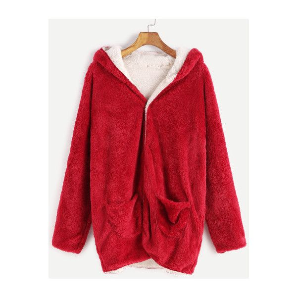 SheIn(sheinside) Red Hooded Fuzzy Coat With Pockets ($23) ❤ liked on Polyvore featuring outerwear, coats, red, red coat, pocket coat, red hooded coat, fuzzy coat and leather-sleeve coats