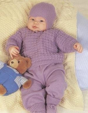 Детские вязаные костюмы для новорожденных