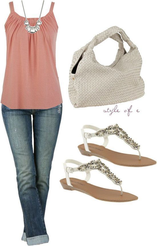 Stylish singlet, jeans, handbag and sandals for summers - Bits and Beauty
