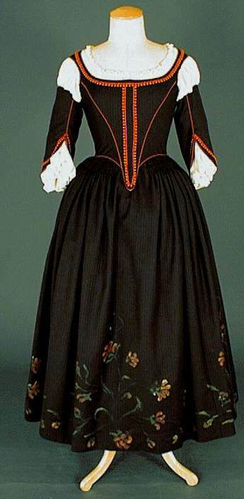 Black day Dress (front) under Louis XIII era, 1610-1660