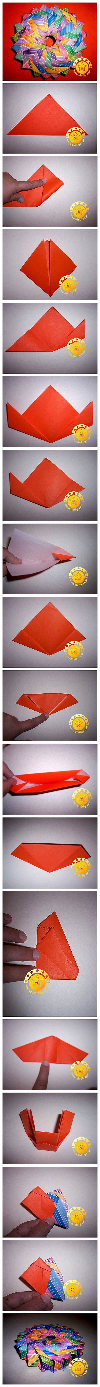 DIY modular origami, I thought it was flat until they showed a picture of it on the side, looks pretty cool!