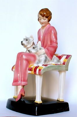 Goldscheider Art Deco Figurine Elegant 1930s Lady Seated with Two Dogs: