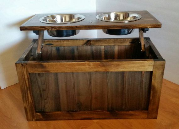 Raised dog feeder with storage elevated feeder dog by LilBitRustic