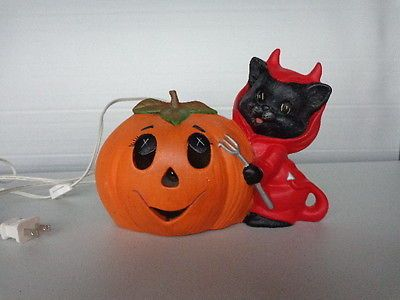 lighted ceramic halloween pumpkin with cat in devil costume vintage 1989 - Ceramic Halloween Decorations