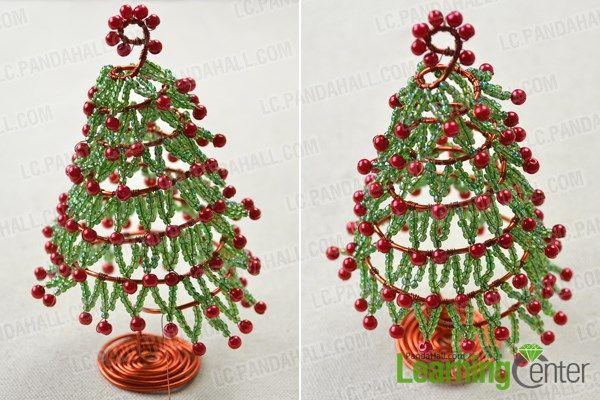 Maak de bladeren van draad kerstboom ornamenten