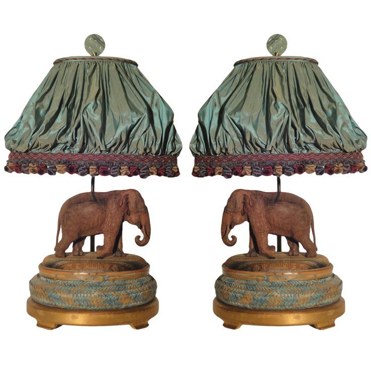 Pair Of Well Carved Wooden Elephants Now As Lamps