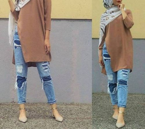 ripped jeans with hijab outfit- Long cardigans and vests hijab trends http://www.justtrendygirls.com/long-cardigans-and-vests-hijab-trends/