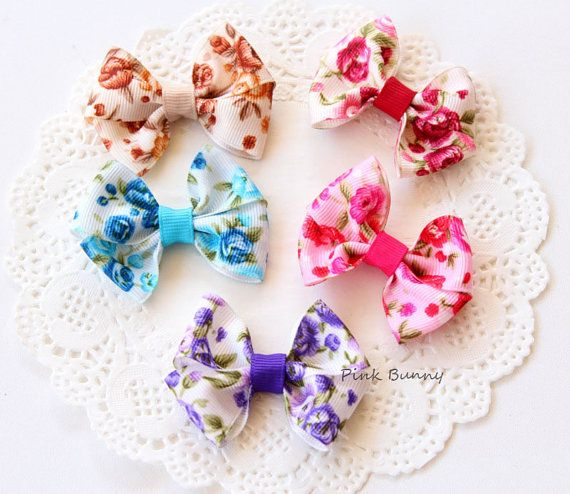 Set of 5 Baby / Girls Floral Rose Hair Clip / Clips by PinkkBunnyy, $11.00