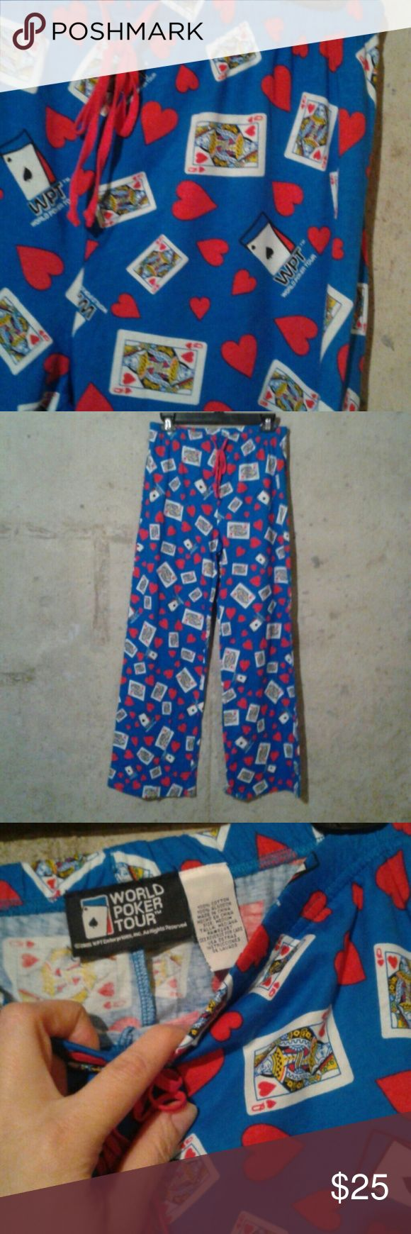 World Poker Tour Queen of Hearts PJ lounge pants Sz M, never worn, no flaws. Blue. Elastic banded waist with drawstrings.  Wideleg. World Poker Tour Intimates & Sleepwear Pajamas