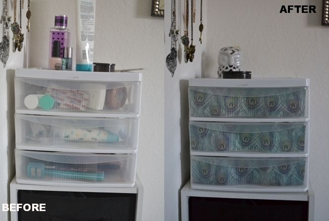 revamped furniture ideas | Reuse old calendars to revamp your plastic drawer organizers.