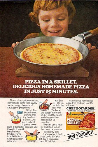 1979 Chef Boyardee Pizza in a Skillet. Okay, I'm speaking from experience here, this shit is fucking horrible. The crust burns, the cheese doesn't melt...it's just nasty.