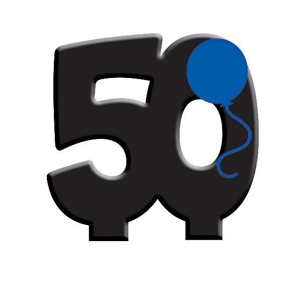 50th Birthday Numeral 50 Candle - Black With Blue Balloon