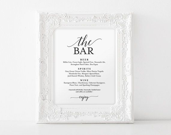 This listing is for a The Bar drink menu PDF INSTANT DOWNLOAD Sign. Download your high resolution template(s) instantly after your payment is complete!  H O W ⋆ I T ⋆ W O R K S ---------------------------------------------- 1. Checkout & download file(s) 2. IMPORTANT: Open the PDF in Acrobat Reader — Free Download: www.get.adobe.com/reader 3. Update highlighted text fields (Files are pre-populated as a guide) — See gallery images which indicates editable text 4. Print on your home printer…